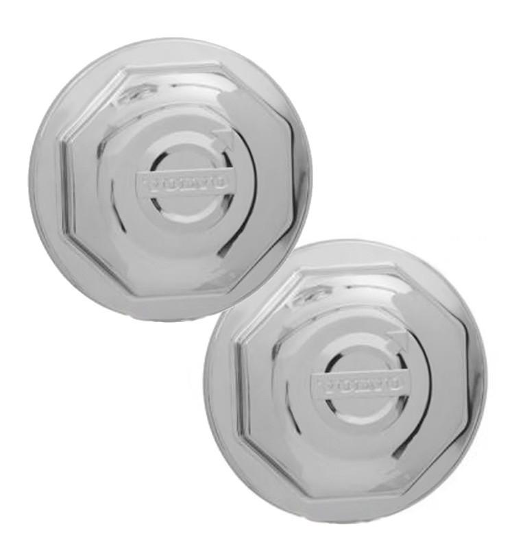 Par Capa Plástica Cromada para Cubo de Roda Dianteira Volvo FH / FM / NH