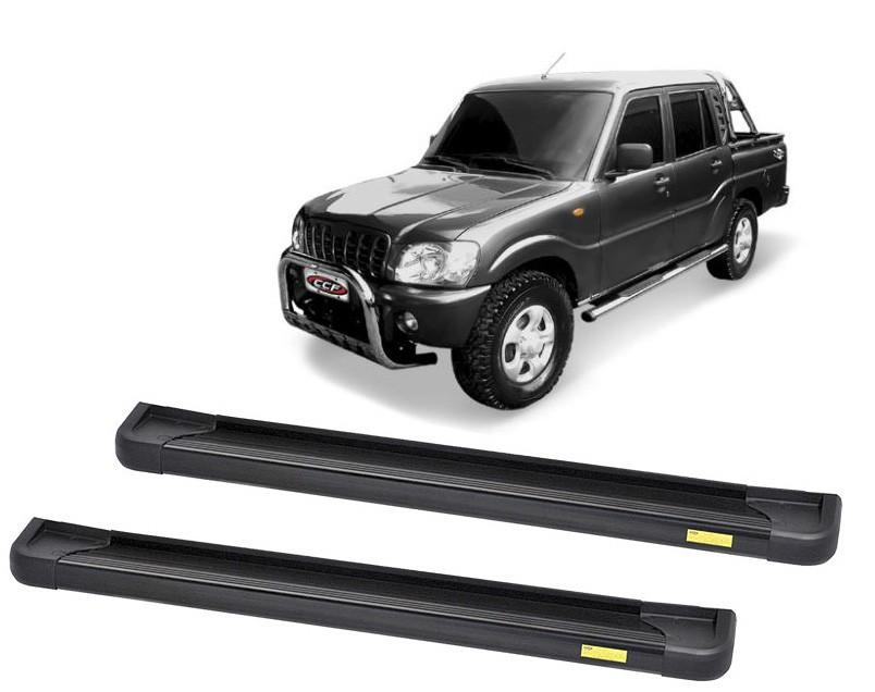 Estribo Plataforma Alumínio Preto Mahindra Pickup Cabine Dupla 2008 em diante