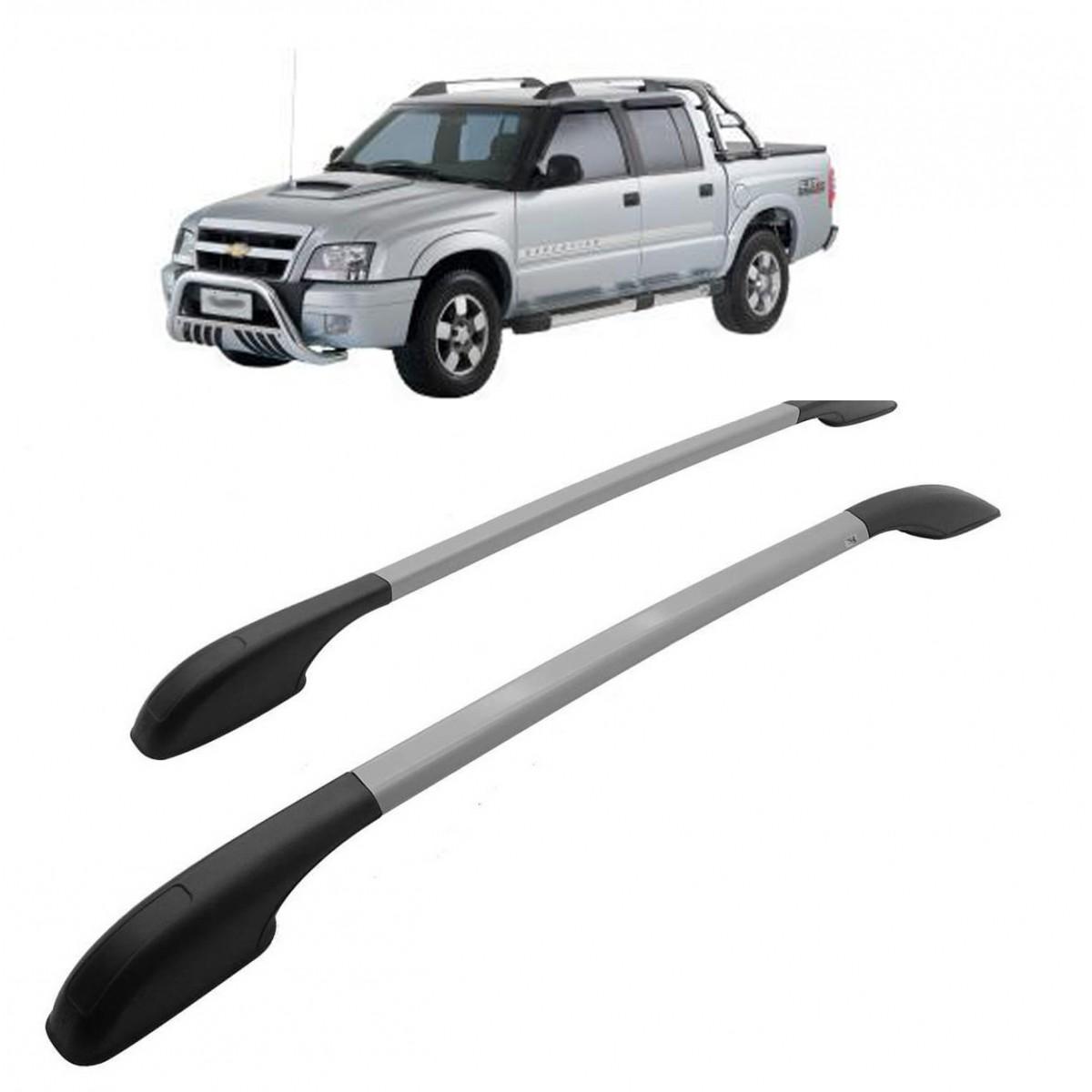 Longarina Decorativa Teto Alumínio Prata S10 1998 a 2011 Não Fura Teto