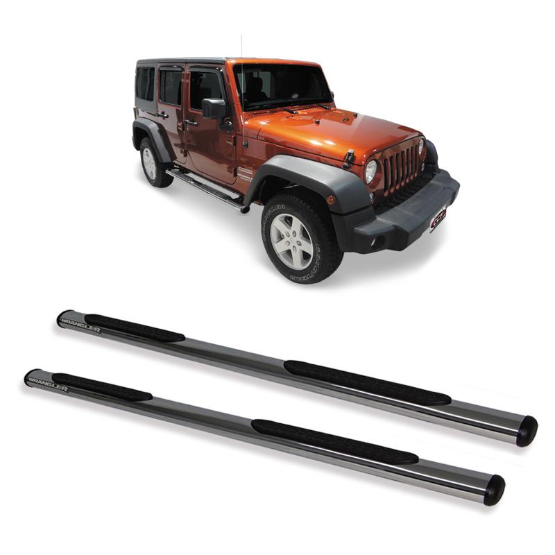 Estribo Oblongo Cromado Jeep Wrangler 4 portas  - TERRA DE ASFALTO ACESSÓRIOS