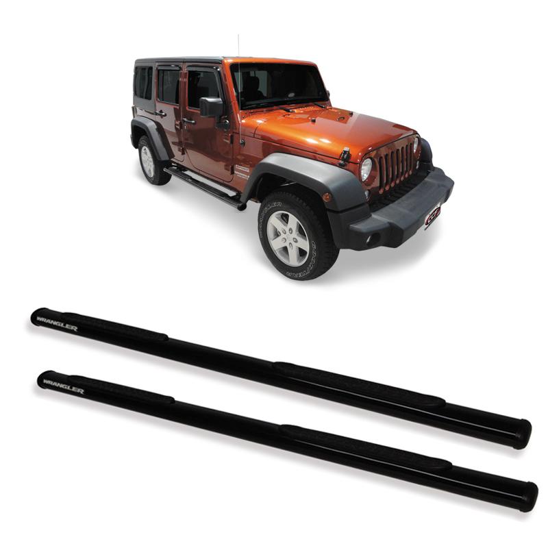 Estribo Oblongo Preto  Jeep Wrangler 4 portas  - TERRA DE ASFALTO ACESSÓRIOS