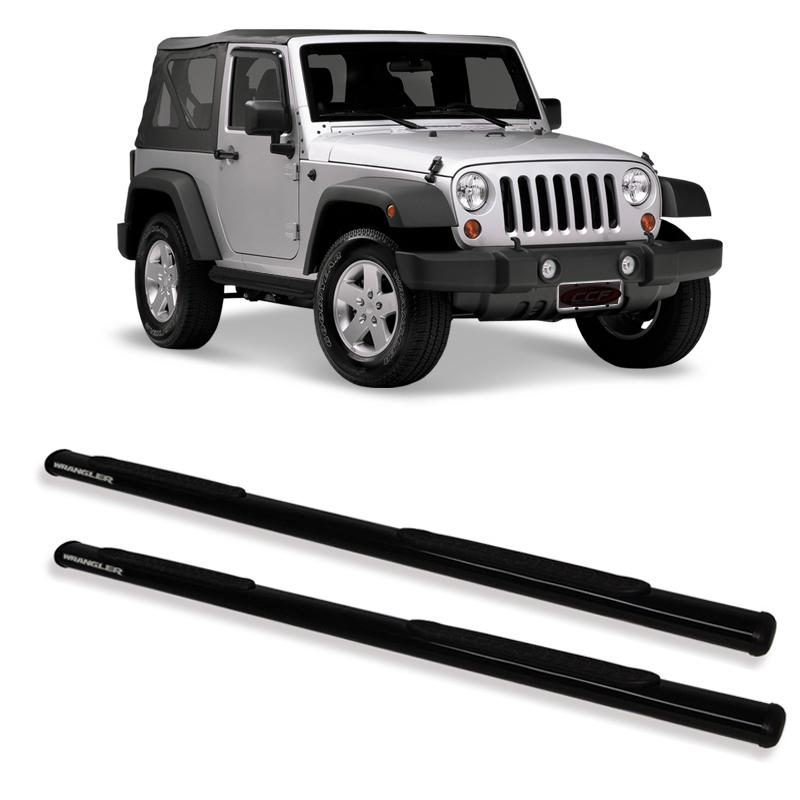Estribo Oblongo Preto  Jeep Wrangler 2 portas  - TERRA DE ASFALTO ACESSÓRIOS