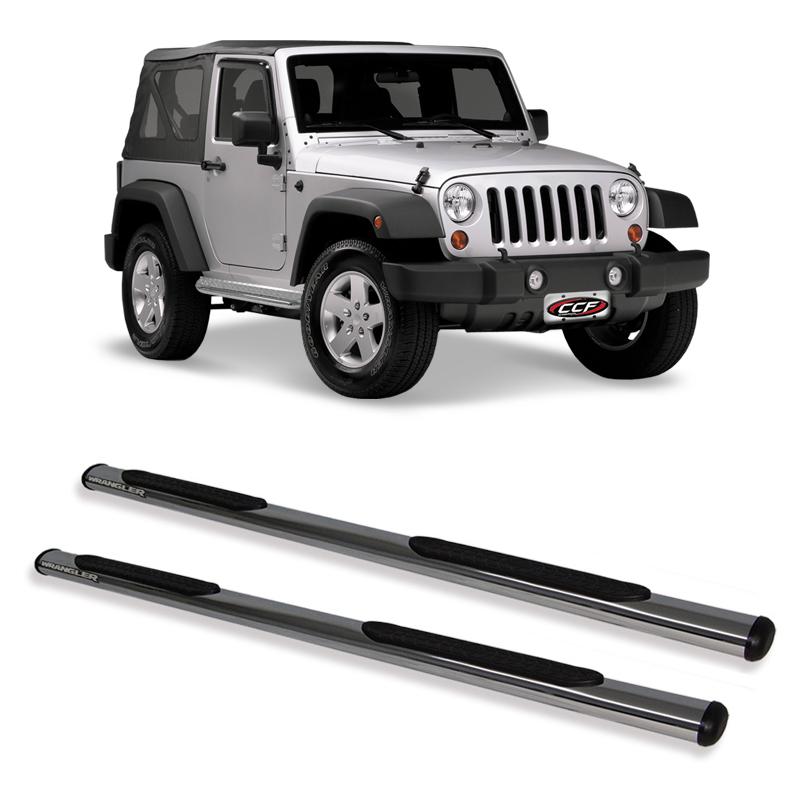 Estribo Oblongo Cromado  Jeep Wrangler 2 portas  - TERRA DE ASFALTO ACESSÓRIOS