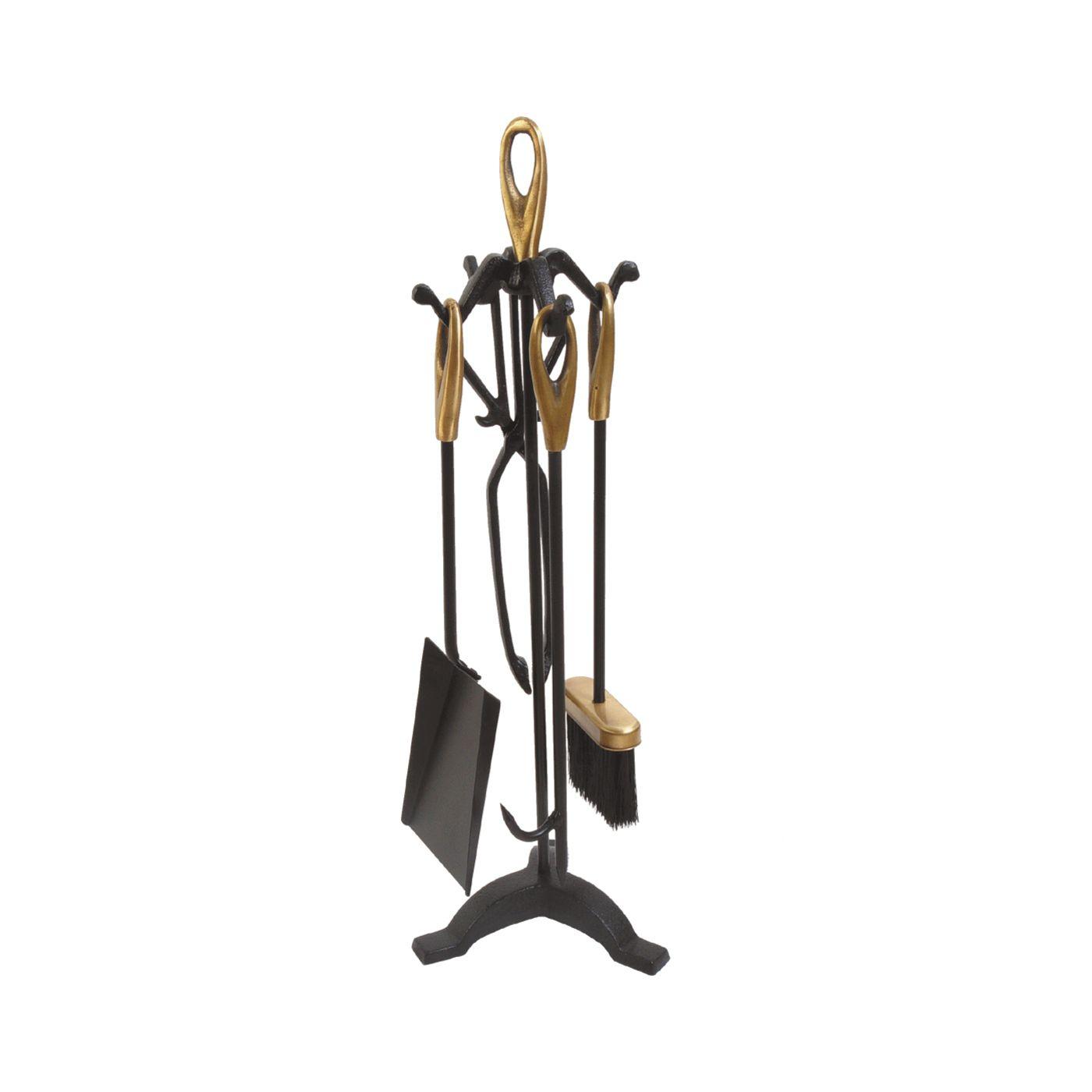 Acessórios Para Lareira Cabo Dourado 65cm 5 Peças