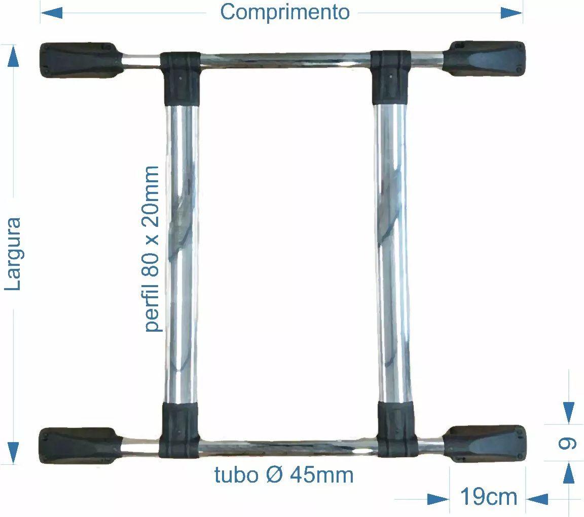 Bagageiro de Teto Gm Tracker 97 a 2012 Cromado - Colado