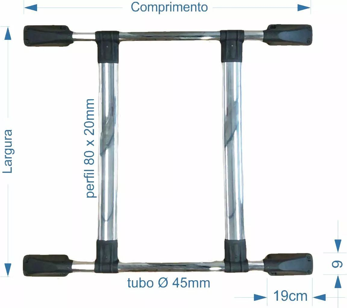 Bagageiro de Teto Preto Colado S10 CD 1998 a 2011