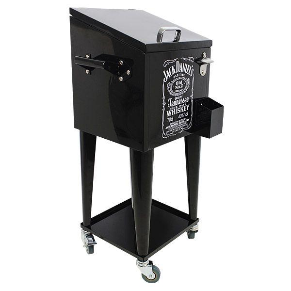 Cooler para Bebida Jack Daniels c/ Rodízio Preto 89x36x31cm