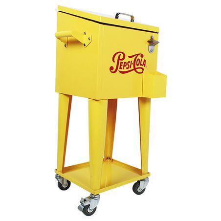 Cooler para Bebida Retro Pepsi c/ Rodízio Amarelo 89x36x31cm