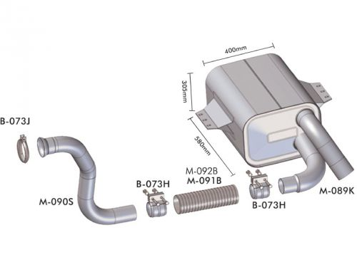 Escapamento Mercedes Benz 1315 / 1418 / 1518 / 1718 Atego Motor 4 cil.   Euro 3