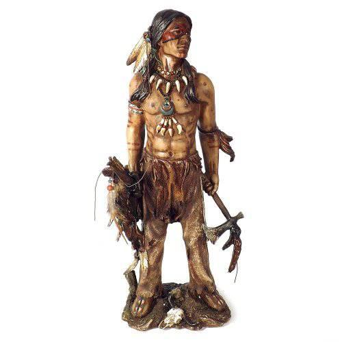 Escultura Índio Guerreiro Com Instrumentos Em Resina 50x20x17cm