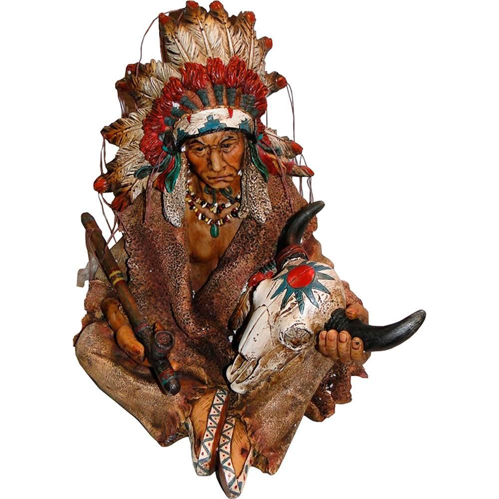 Estátua Índio Chefe Sentado com Cachimbo Resina Marrom - Oldway