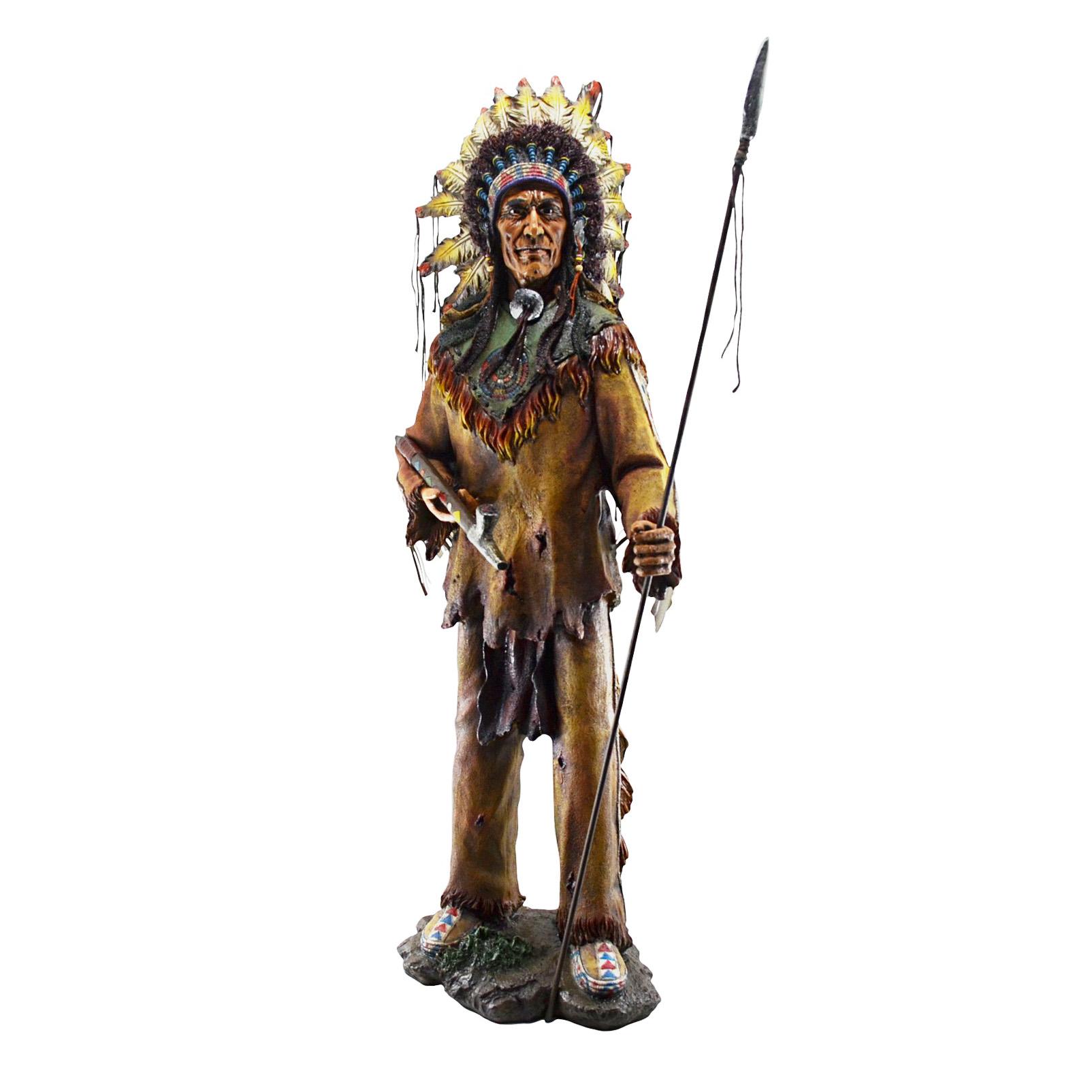 Estatueta Índio Cacique Com Lança 90 cm