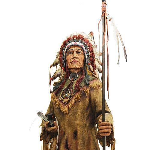 Estatueta Índio Cacique Com Lança Oldway - 98x40 Cm