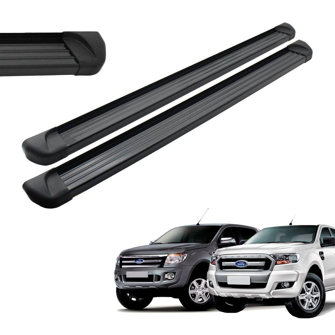 Estribo Aluminio Preto Cabine Dupla Ranger 2013 a 2018 2019 2020