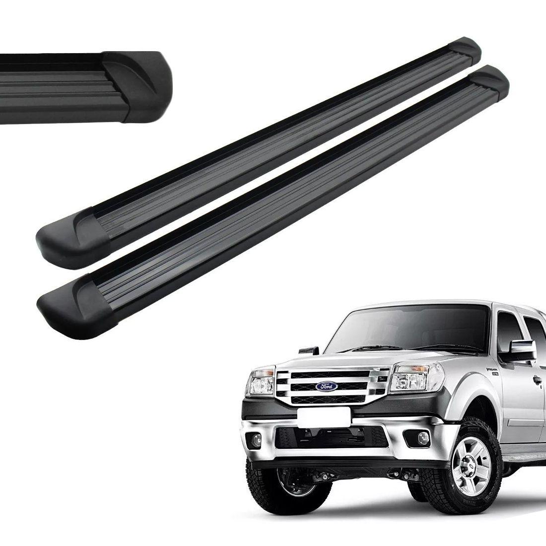 Estribo Aluminio Preto Cabine Dupla Ranger 98 a 2010 2011 2012