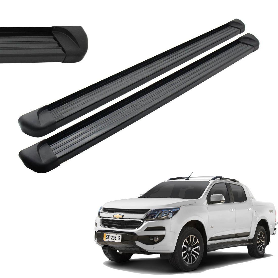 Estribo Aluminio Preto Cabine Dupla S10 2012 a 2018 2019 2020