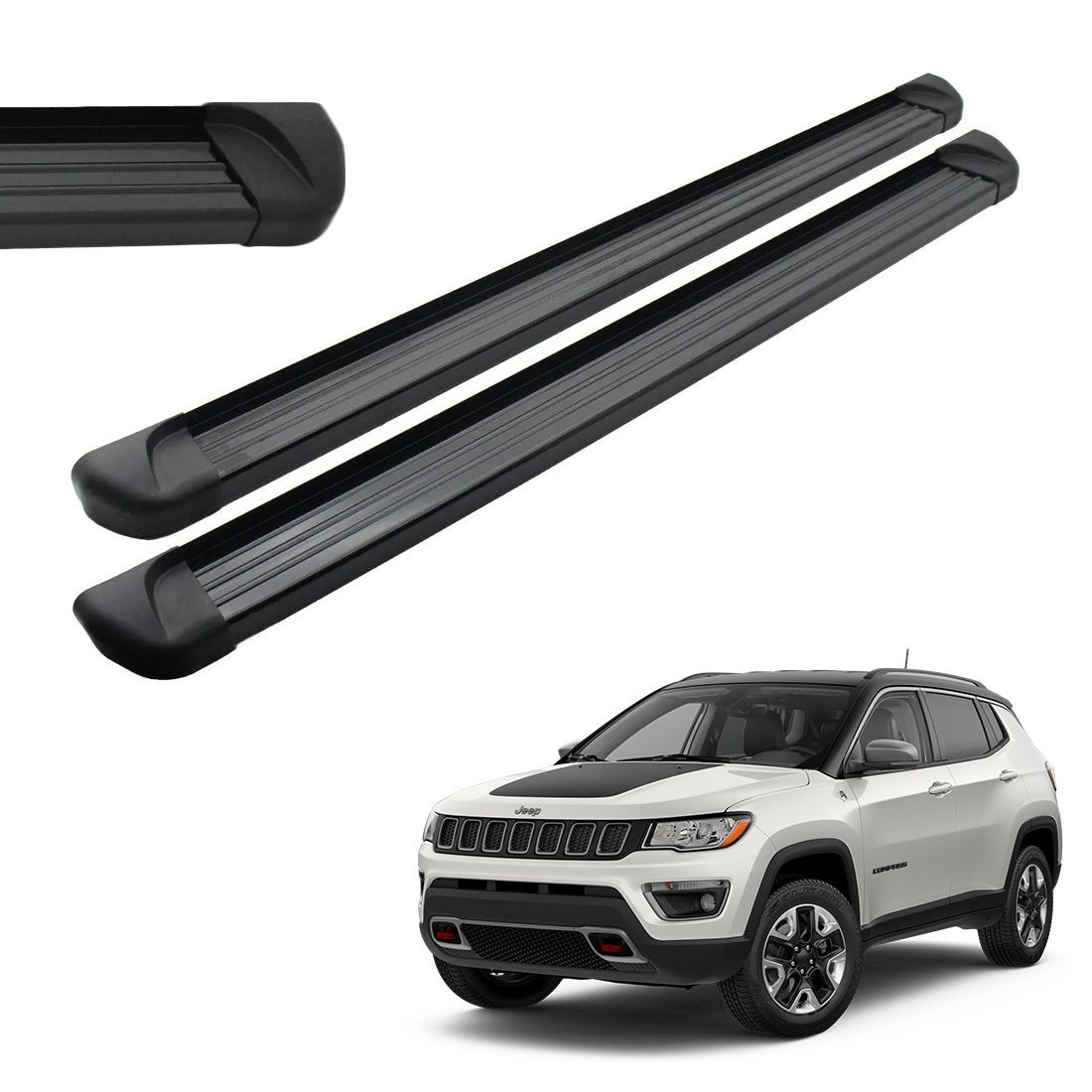 Estribo Lateral Aluminio Preto Jeep Compass