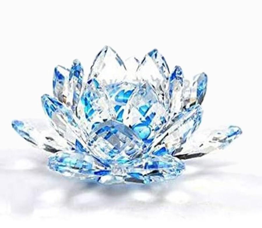 Flor De Lotus Cristal Azul 60mm Imp