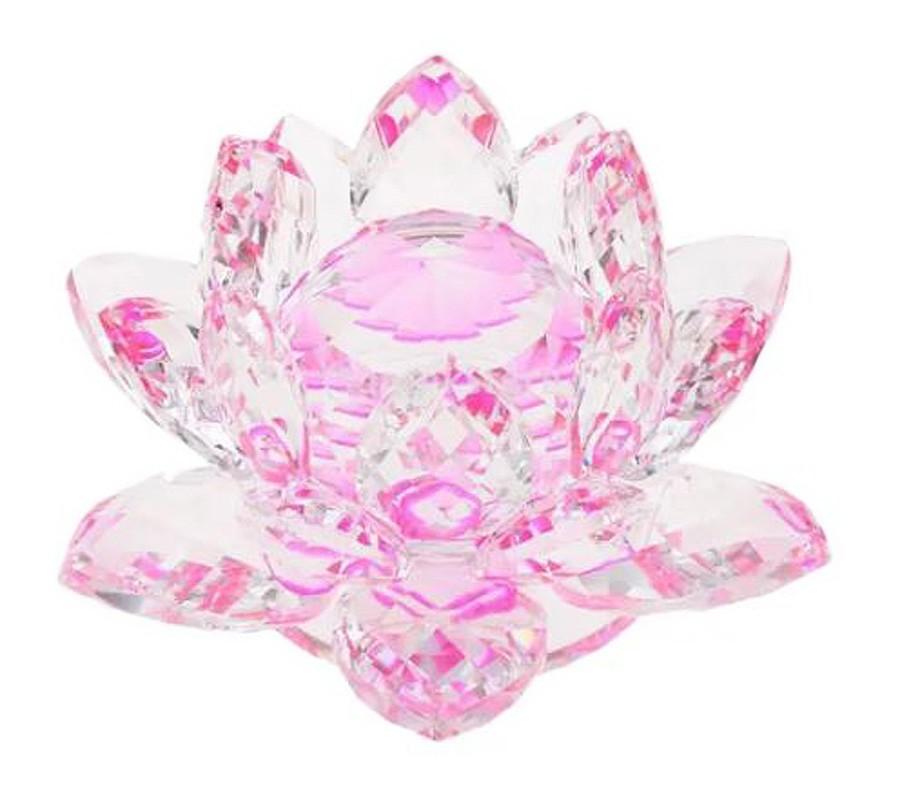 Flor De Lotus Cristal Rosa 60mm Imp