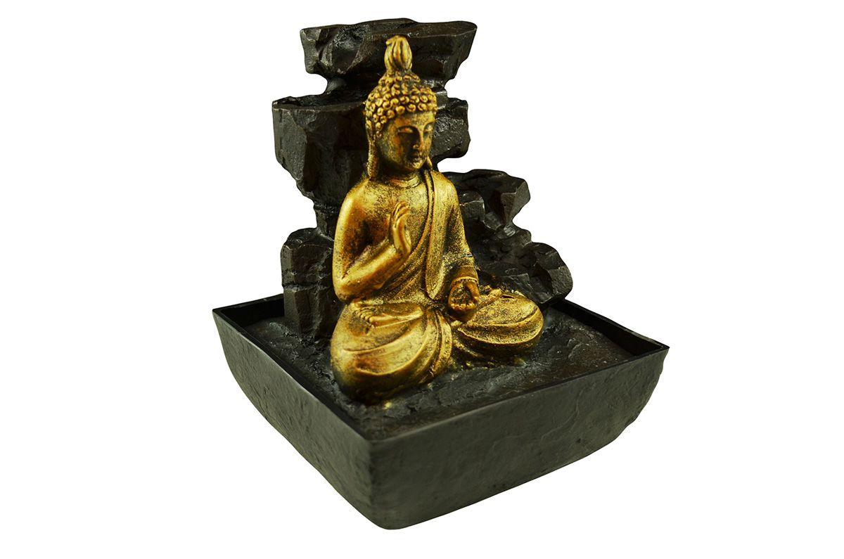 Fonte de Água Buda Com Quedas Resina 17cm