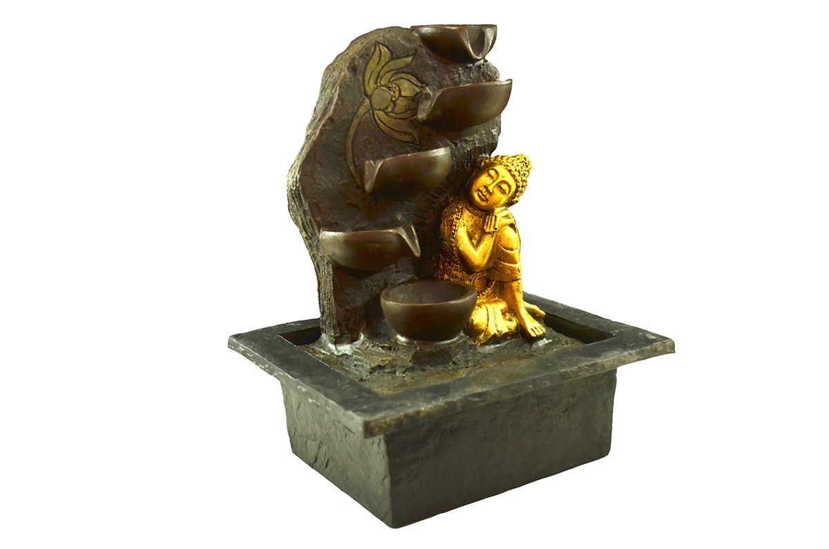 Fonte de Água Buda de Lado com Potes 27cm