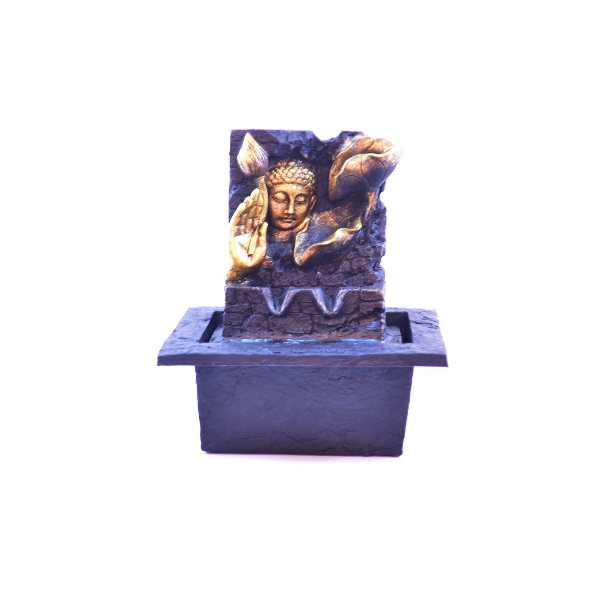 Fonte de Água Buda Face com Mãos Resina 19cm
