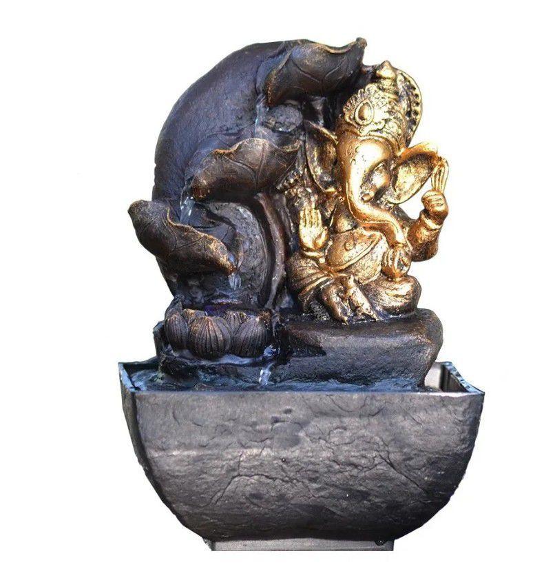 Fonte De Água Decorativa Elefante Indiano Relaxante Ganesha