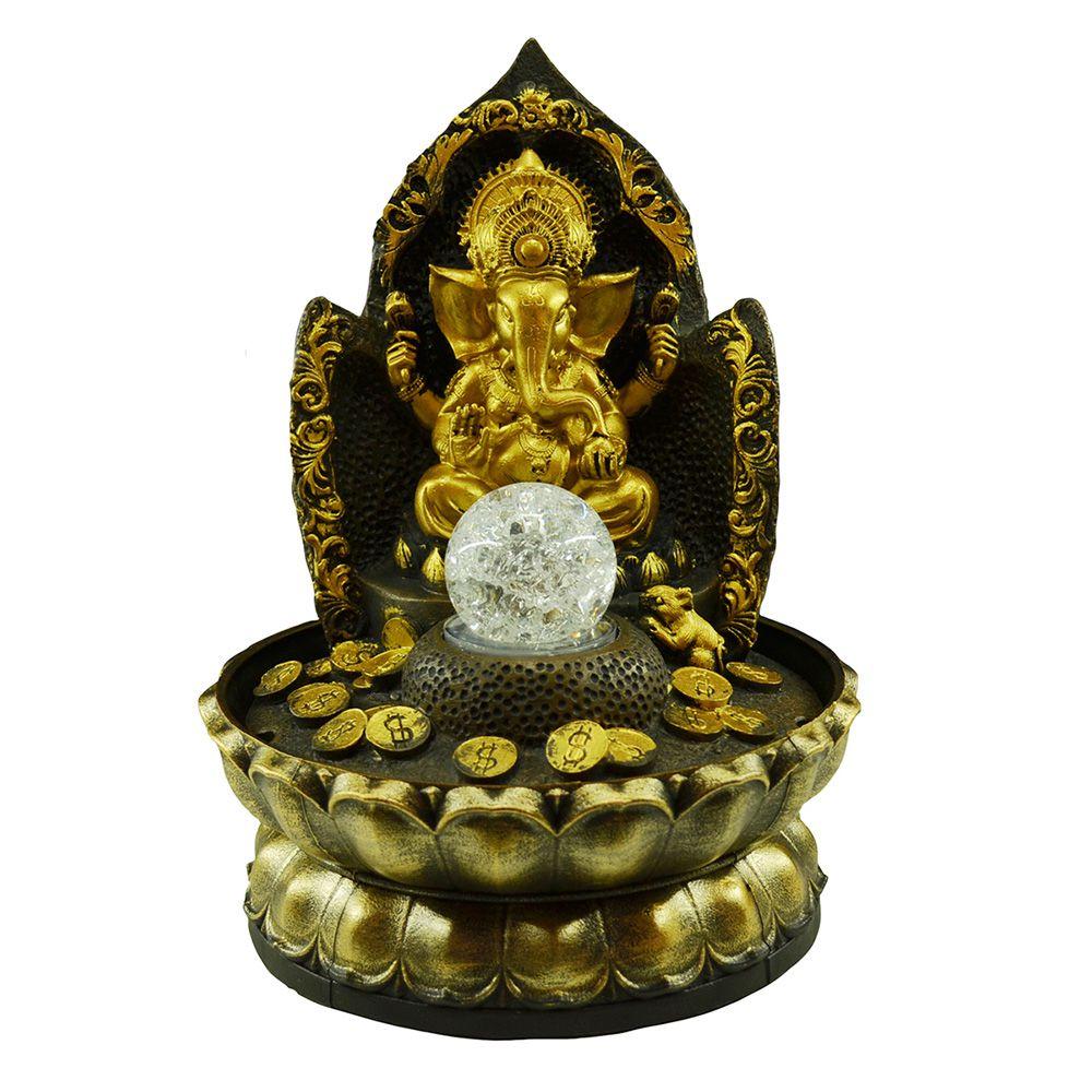 Fonte de Água Ganesha M Com Bola Resina