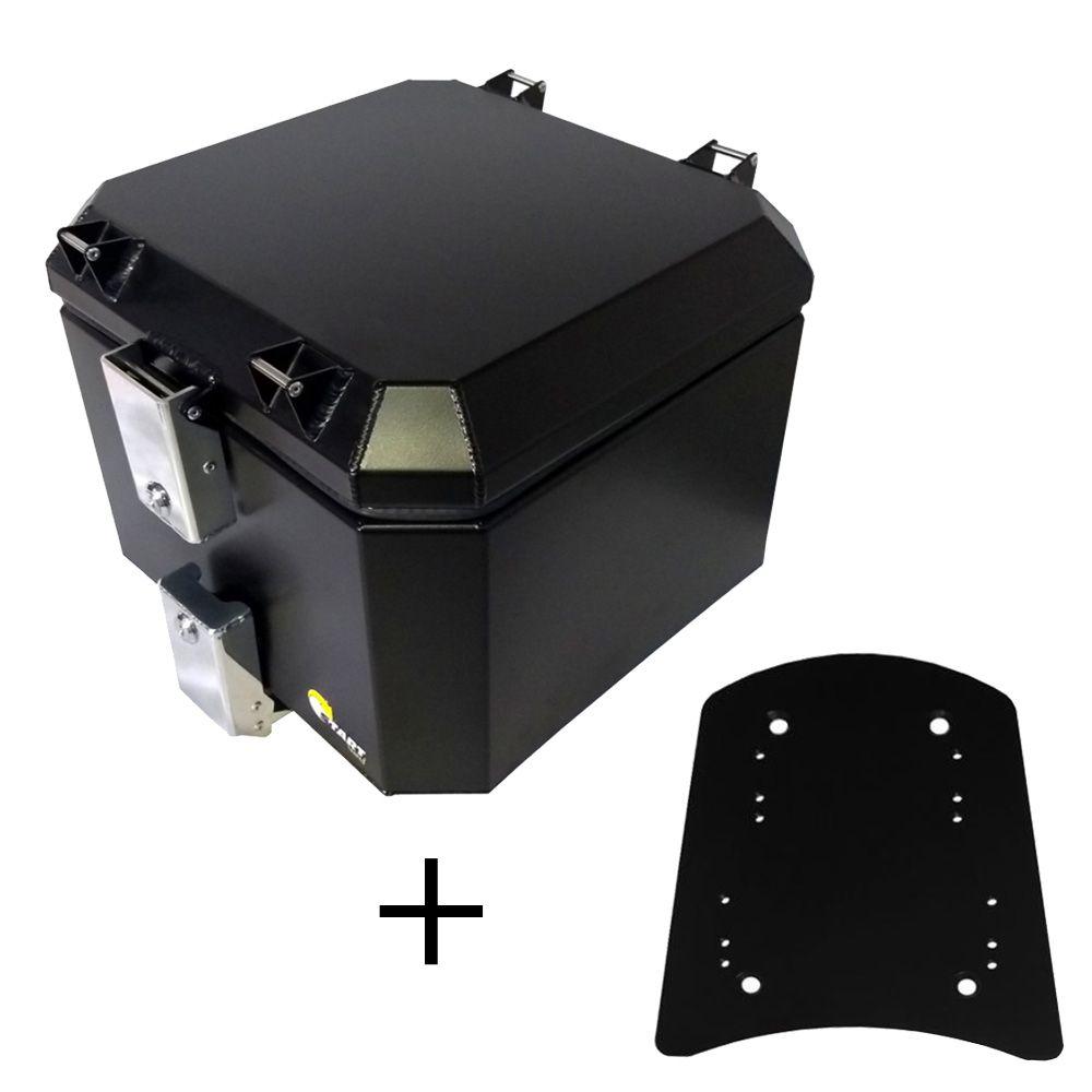 Kit Baú Alumínio Preto 43 L e Base Fixação Vstrom DL650 2014 a 2018