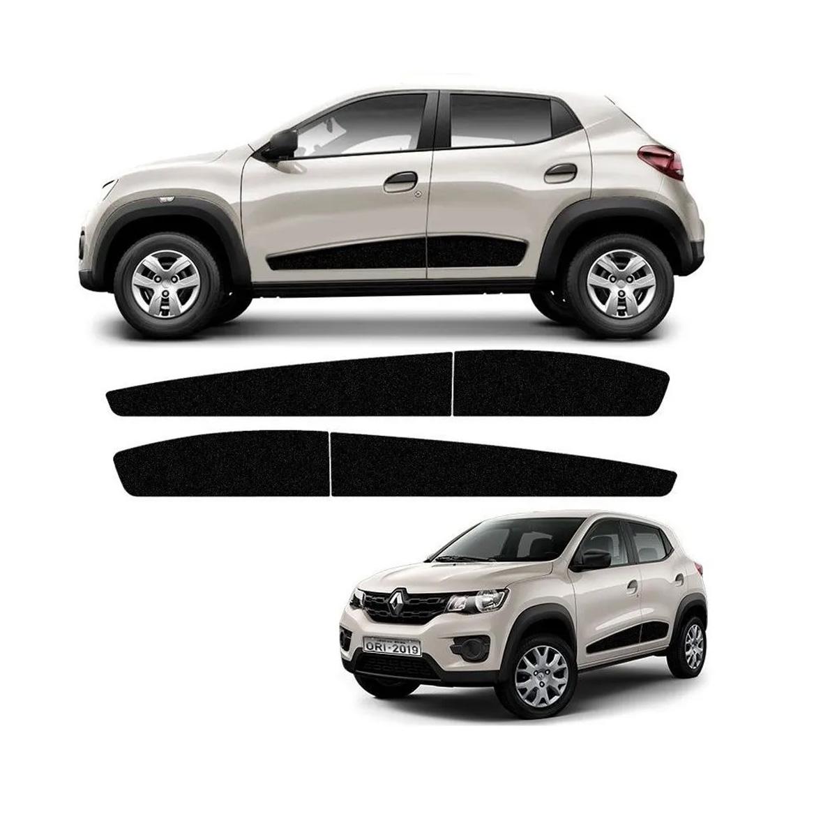 Kit Faixa Lateral Renault Kwid 2018 2019 2020 2021 Adesivo Preto