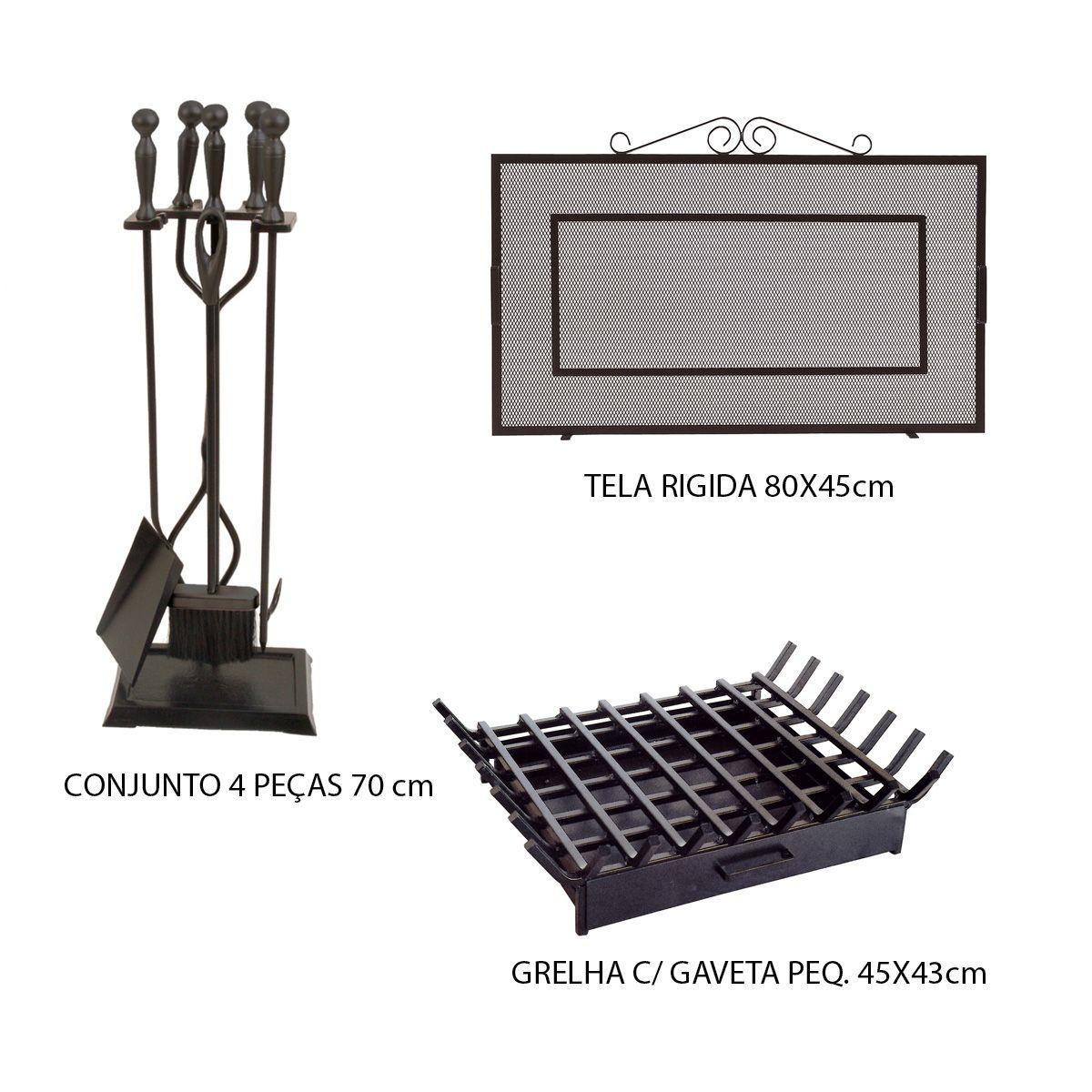 Kit Tela Lareira 80x45 + Cj Limpeza + Grelha Pequena