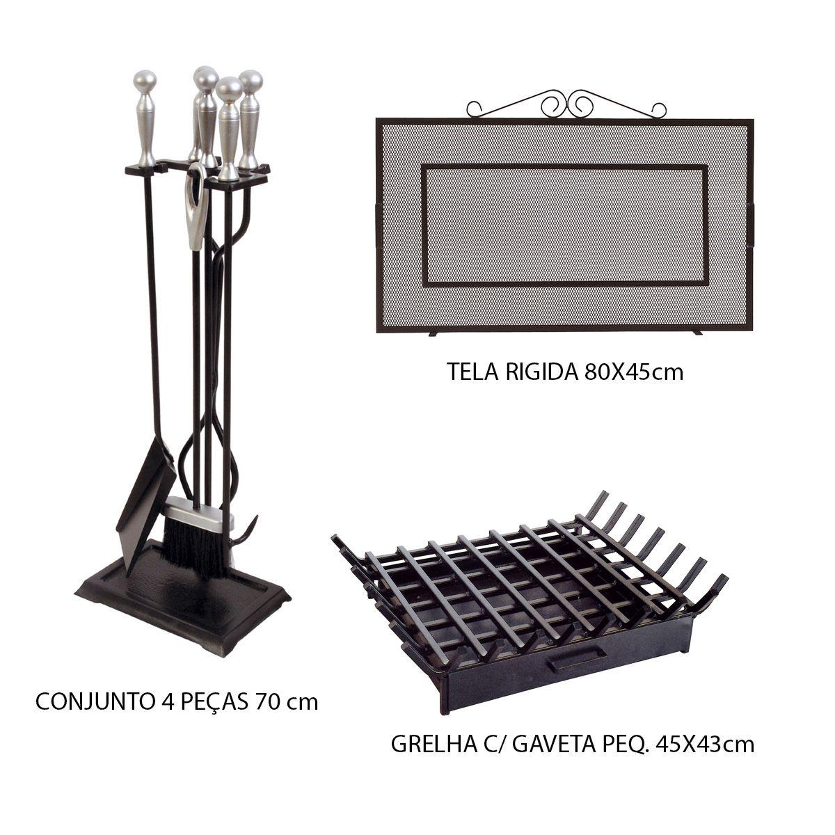 Kit Tela Lareira + Cj Limpeza Cabo Cromo + Grelha Pequena