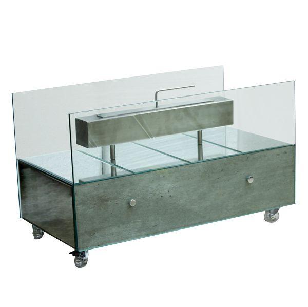 Lareira Ecológica Grande Concreto Prata Com Espelhos Fullway  45X75X40Cm