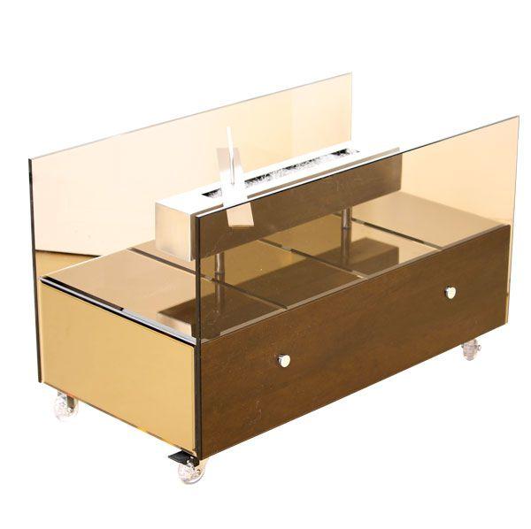 Lareira Ecológica Grande Cool Bronze Com Espelhos Fullway  45X75X40Cm