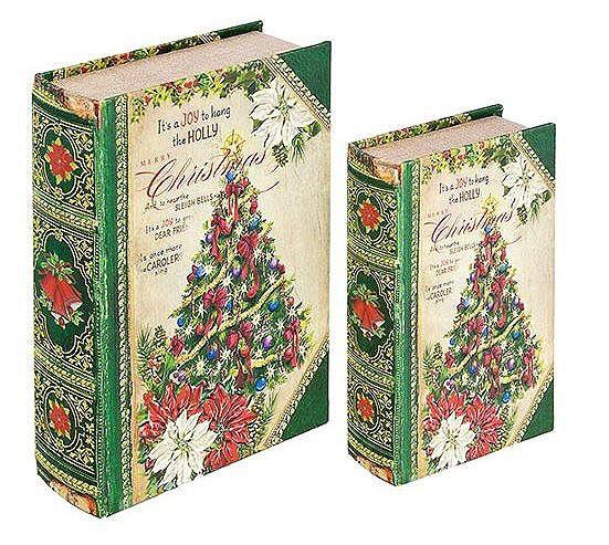 Livro Caixa Decorativo Book Box 2 Peças Christmas Tree