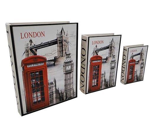 Livro Caixa DecorativoBook Box 3 Peças Cabine London