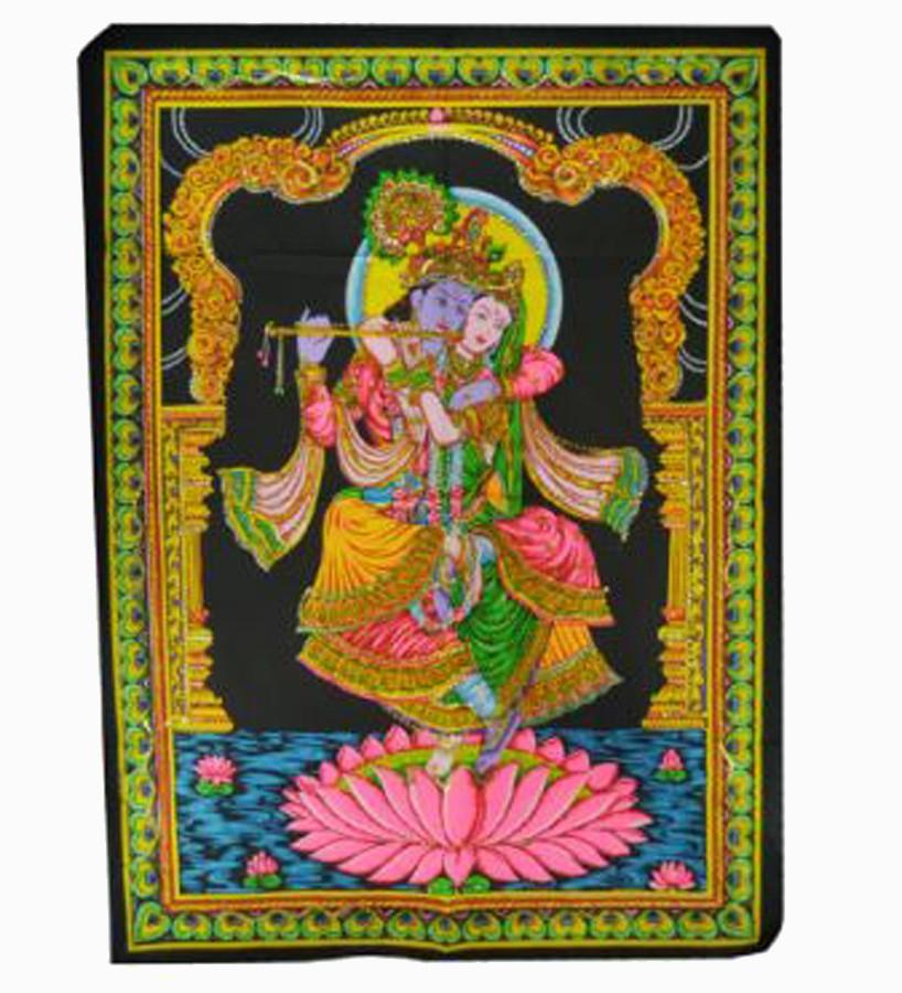 Pano G Casal Krishna Na Flor De Lótus