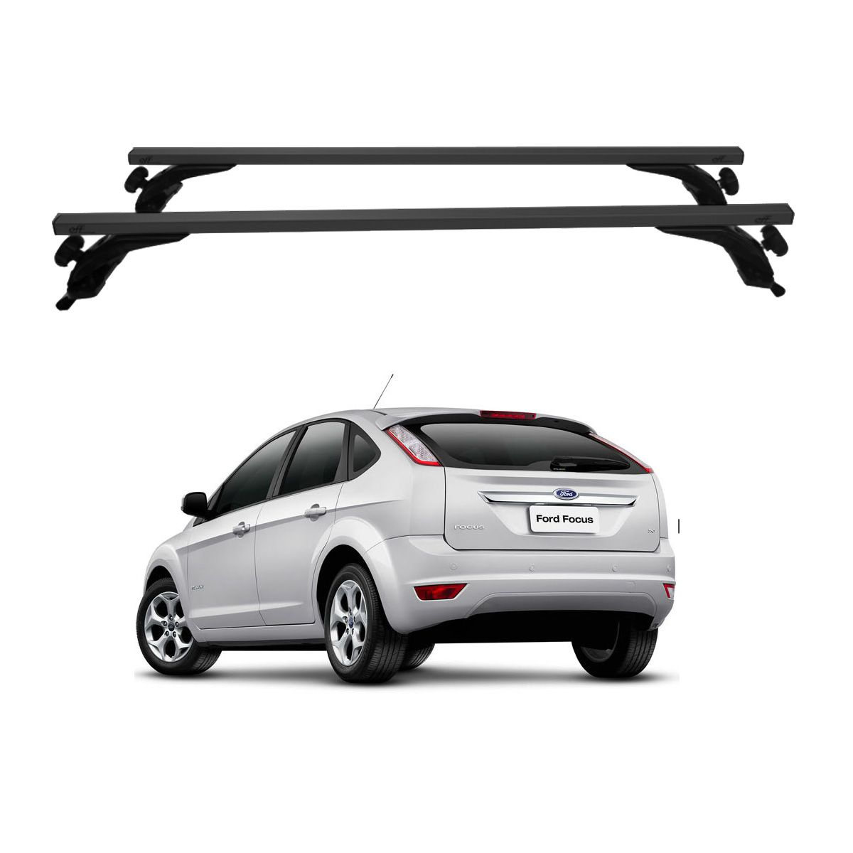 Rack Travessa de Teto Alumínio Preto Ford Focus Hatch