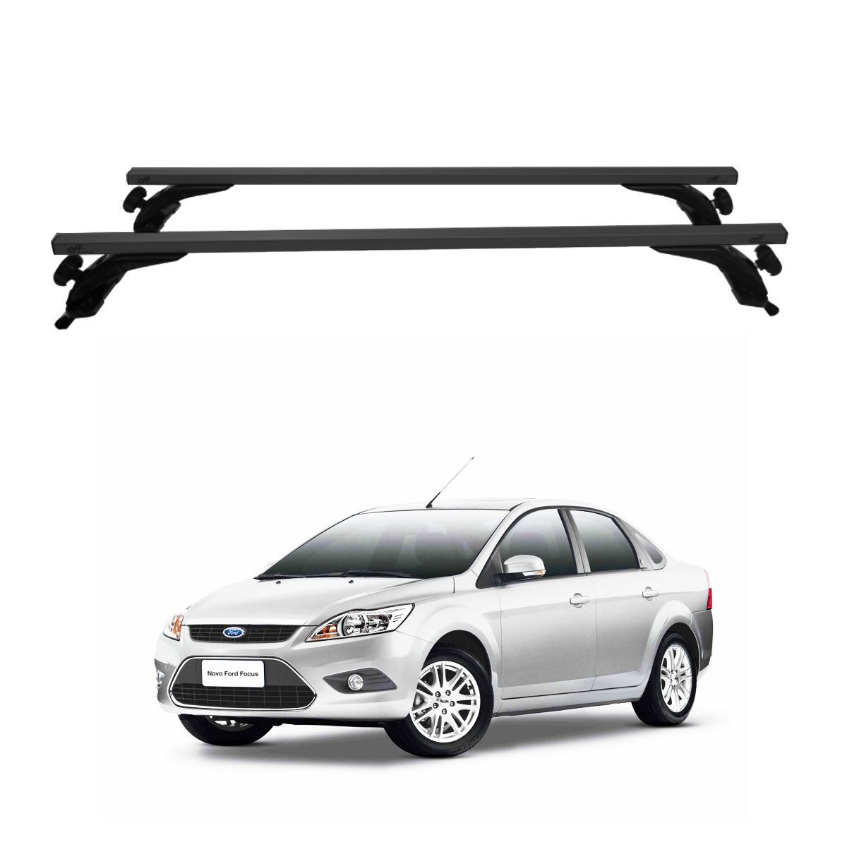 Rack Travessa de Teto Alumínio Preto Ford Focus Sedan