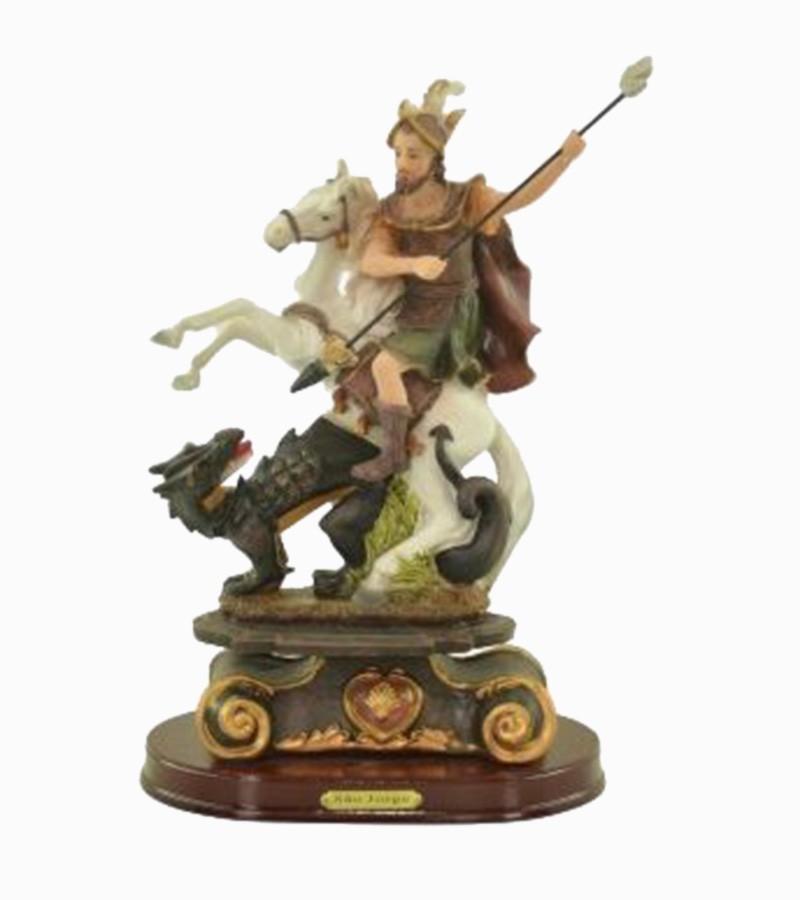 São Jorge Guerreiro Imagem Santo Estátua Decorada Resina 36cm