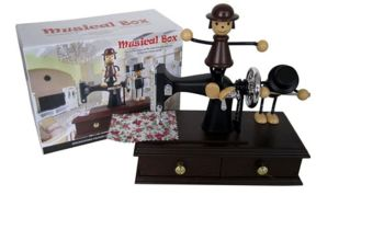 Caixinha Musical Máquina de costura com bonecos