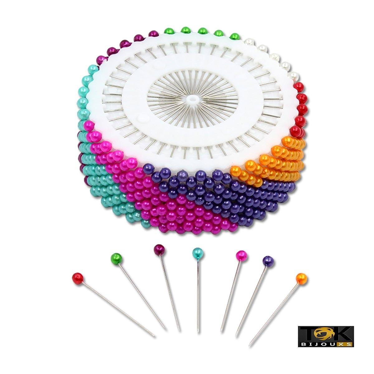Alfinete Cabeça Colorida -12 Discos com 40 Alfinetes cada (480 Alfinetes)