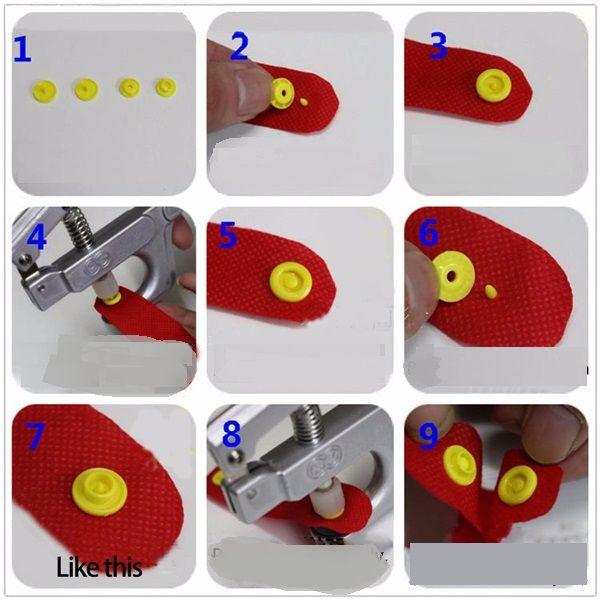 Alicate de pressão para pregar Botões de plástico com 3 matrizes