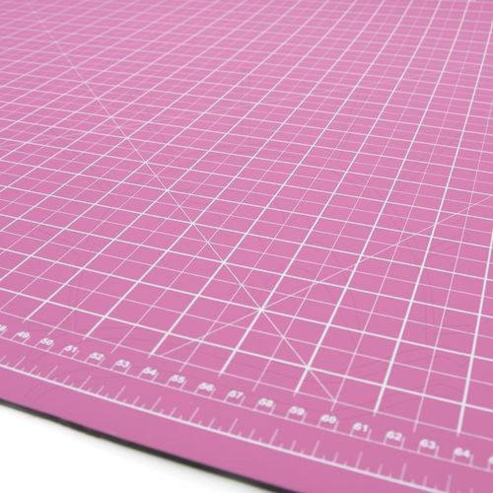 Base de corte A2 60 x 45 Dupla Face Rosa p/ Patchwork Scrapbook Artesanato