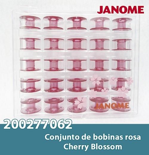 Bobinas JANOME 25 bobinas na cor Rosa