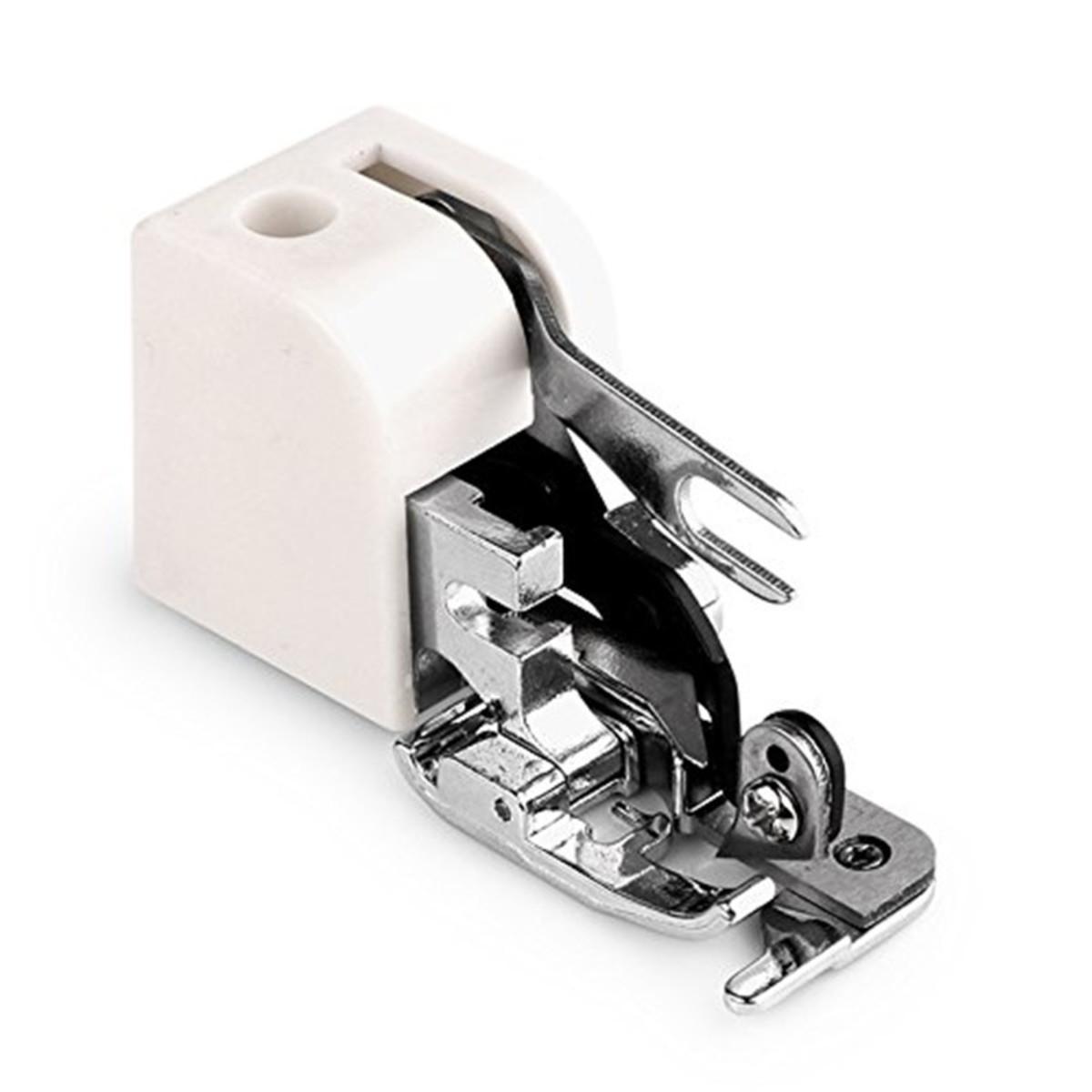 Calcador com corte para costura Overloque em máquina doméstica