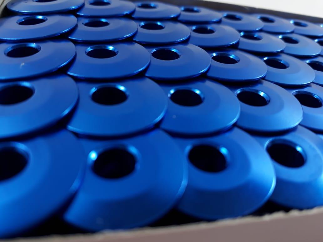 Carretilha de Alumínio Azul para Máquina de costura Reta industrial - Caixa com 100 Bobinas - Cor Azul