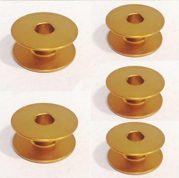 Carretilha de Alumínio Dourada para Máquina de costura Reta industrial - Caixa com 100 Bobinas - Cor Dourada