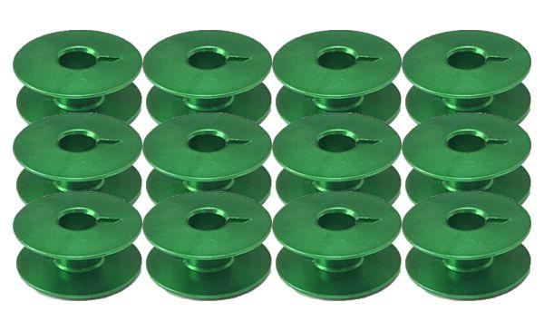 Carretilha de Alumínio Verde para Máquina de costura Reta industrial - Caixa com 100 Bobinas - Cor Verde