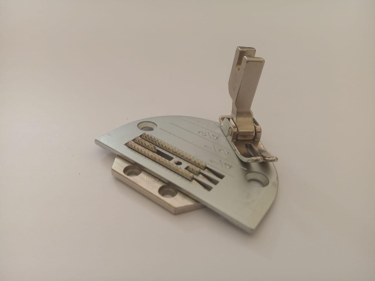 Conjunto Reta, Chapa Dente e Calcador 4 Carreiras Alongado c/ Rebaixo